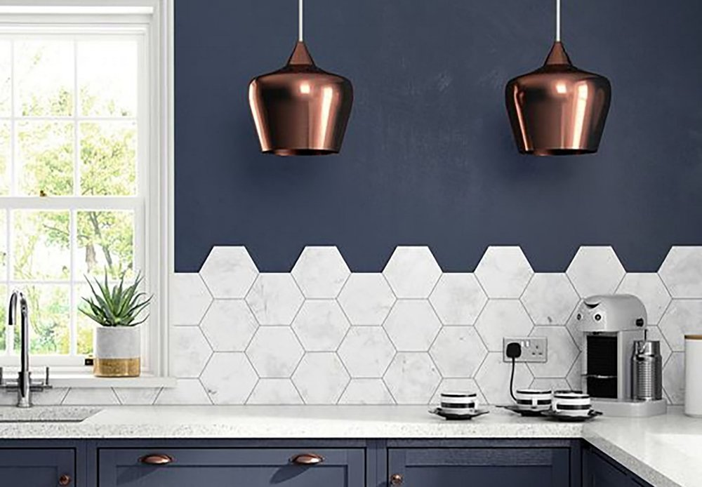 MARBLE HEXAGON TILE BY BRITISH CERAMIC TILE
