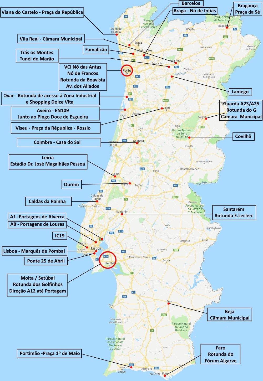 Carte des manifestations et blocages au Portugal ce vendredi 21 décembre 2018