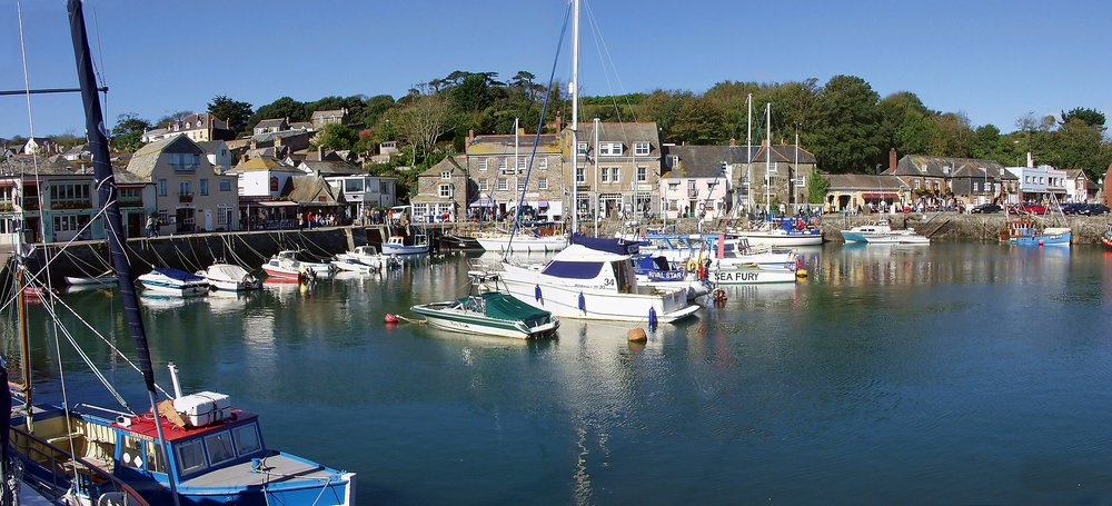 The nearby pretty harbour at Padstow