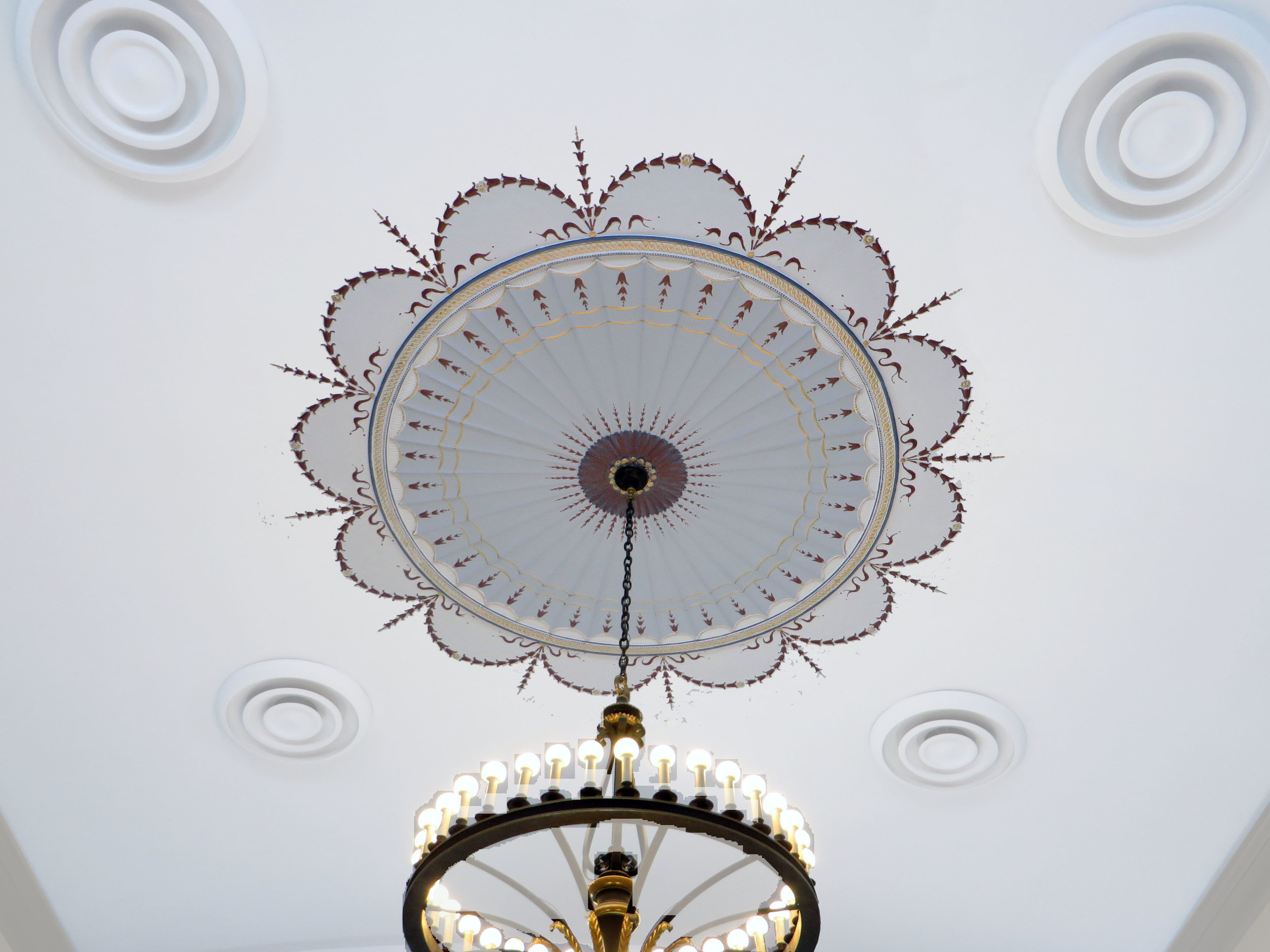 Ceiling Medallion- white painted to filigree