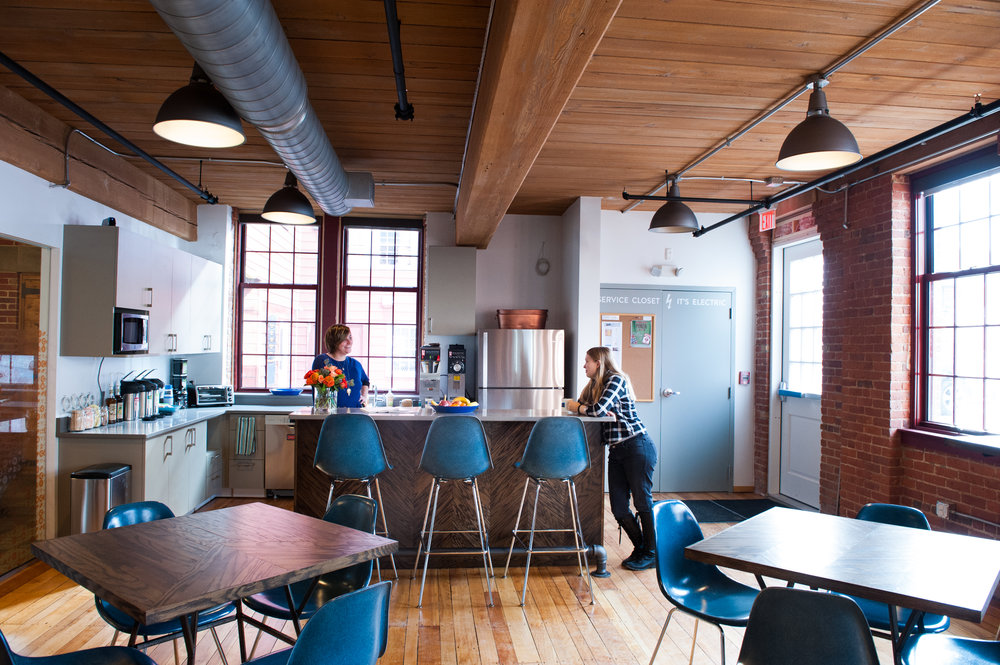 Workbar Arlington is a modern, classy and comfortable coworking space build in a renovated piano factory building.