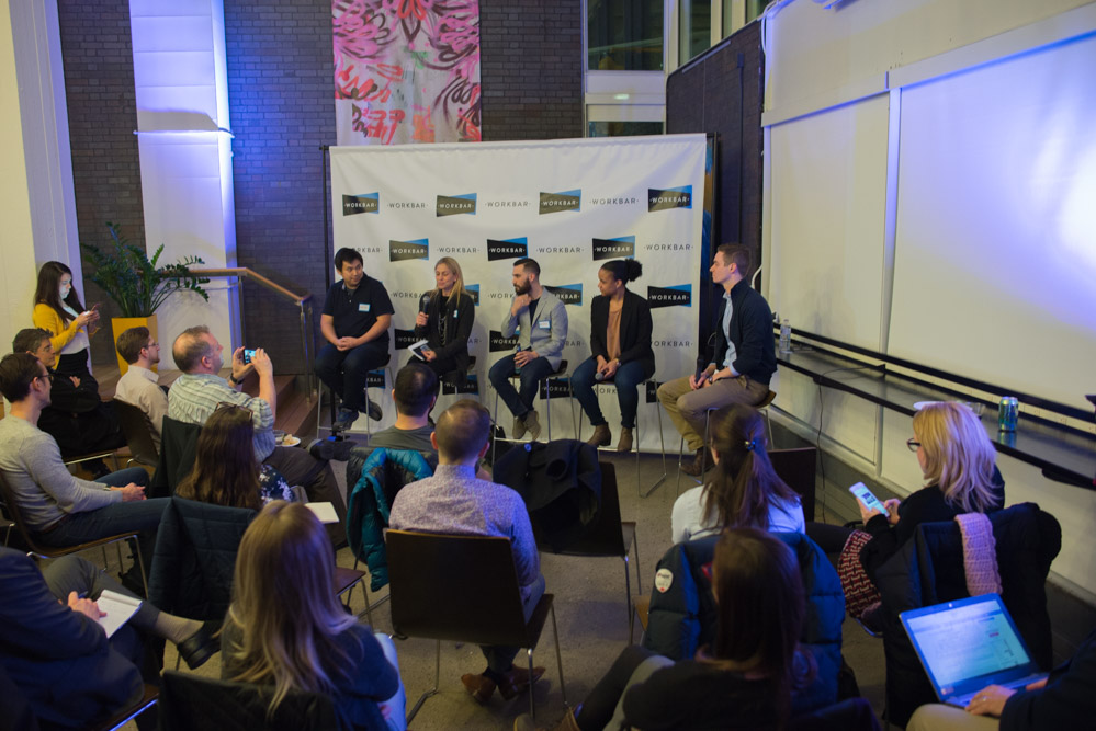 "The panel discussion ""Thriving in Today's Innovation Economy"" held at Workbar Cambridge on Feb. 22. Photo by Sooz."