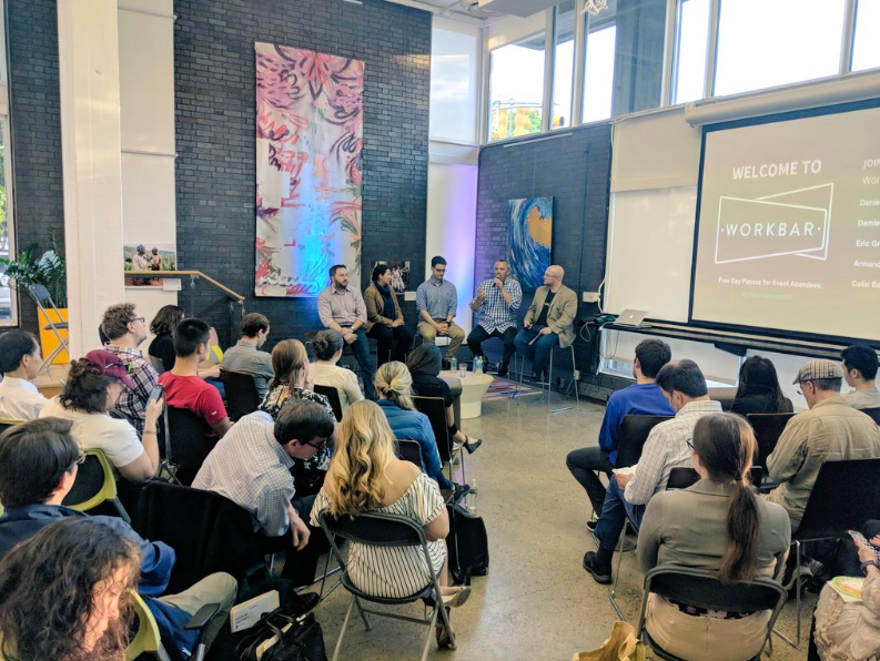 Workbar's monthly Speaker Series event brought in top marketers from Drift, Yelp, Netflix and Alignable. VentureFizz's editor Colin Barry moderated the discussion.