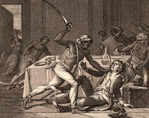 Historical etching showing the slave uprising of 1712.