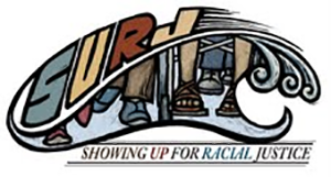 SURJ Showing Up For Racial Justice logo and link