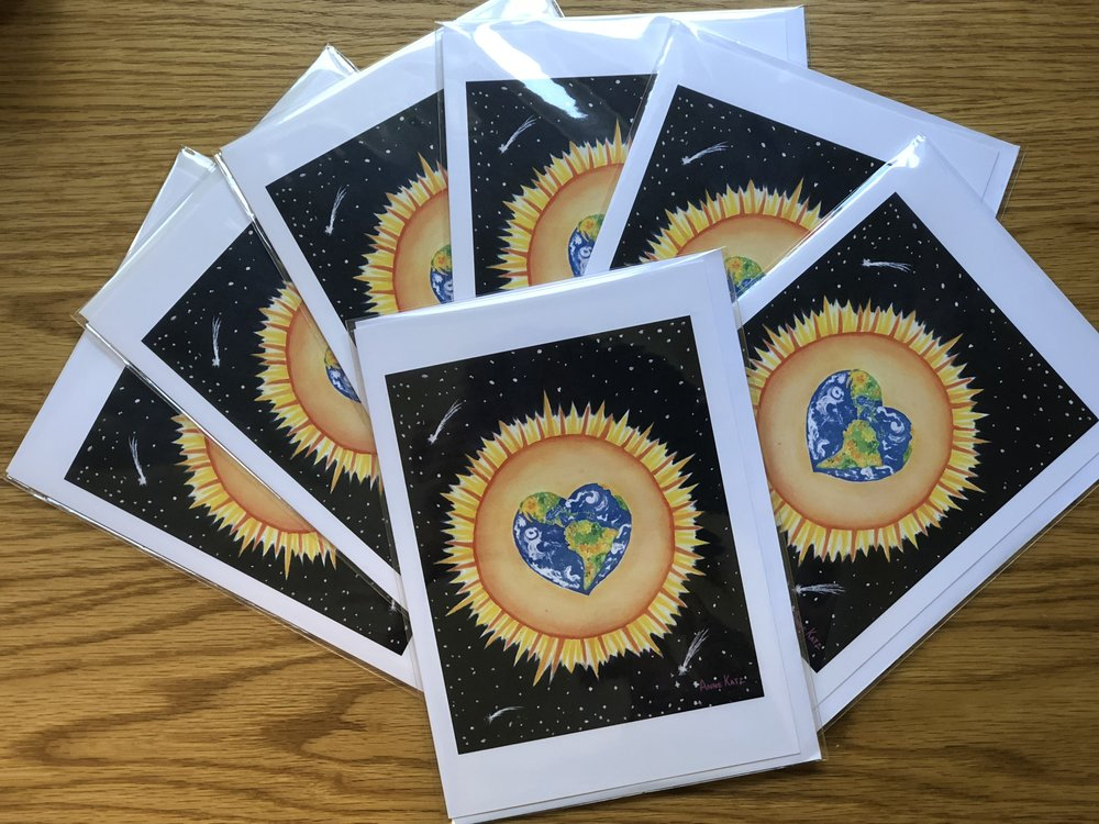 These cards are available in our office for $5.00 each. All proceeds go to Refugee Resource Europe.