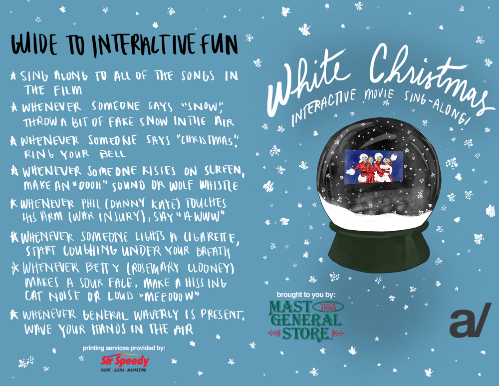 Booklet cover for White Christmas sing-along event.