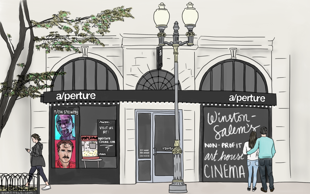 Storefront of a/perture cinema in the daytime