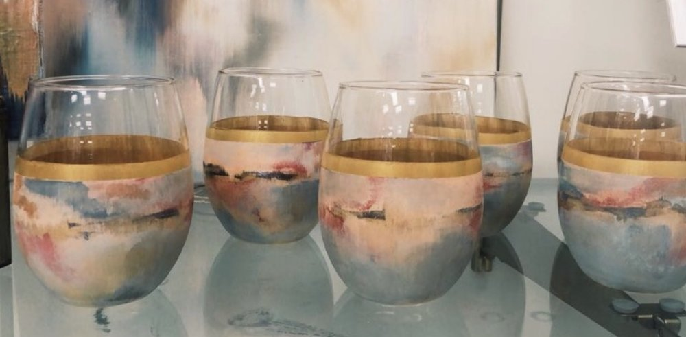 HAND PAINTED STEMLESS GLASSES