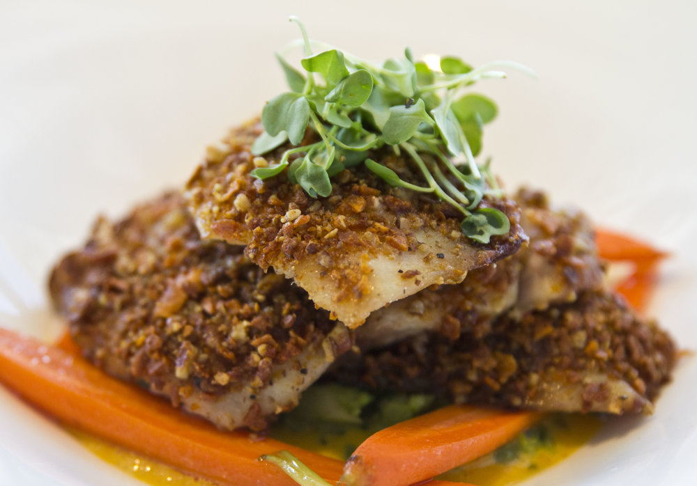 Pecan crusted mahi plated food shot for Hyatt Key West