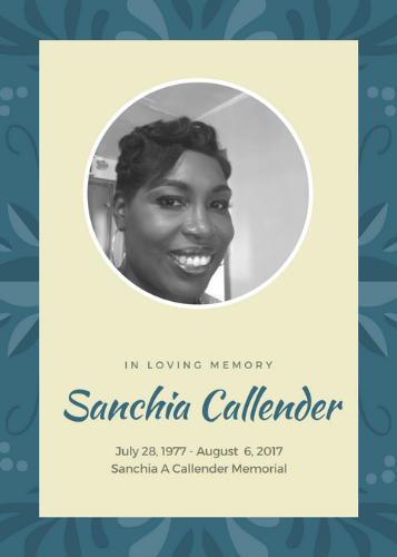 Sanchia Callender 1977-2017