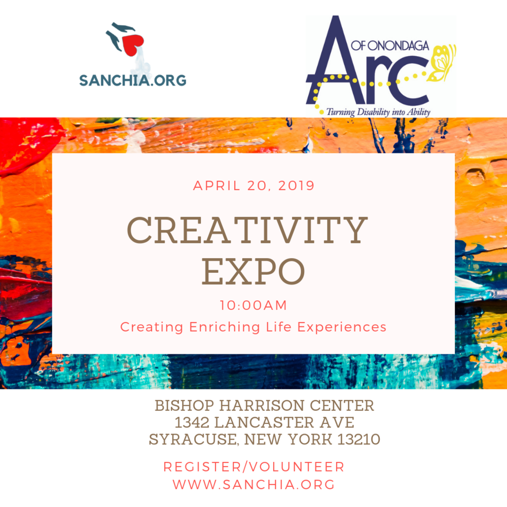 You're invited! Join us for the Creativity Expo on April 20, 2019 at the Bishop Harrison Center located at 1342 Lancaster Ave in Syracuse, NY.