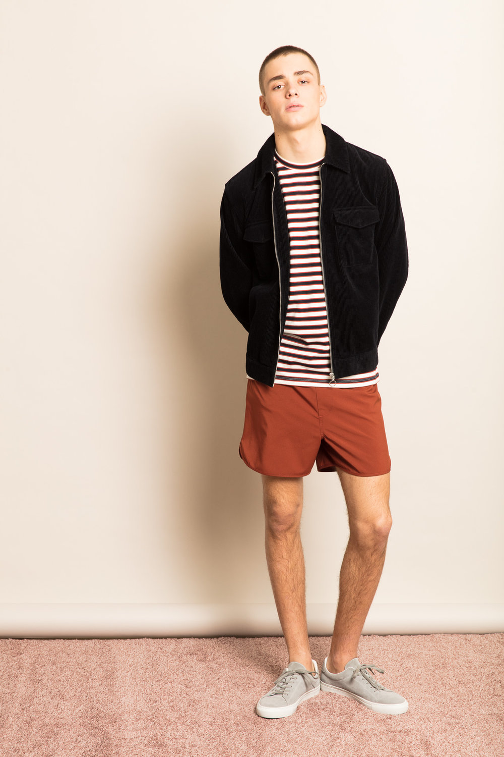 Mildred Jacket,  Barnard Tee ,  Beach Swim Shorts  &  Mats Suede Sneakers