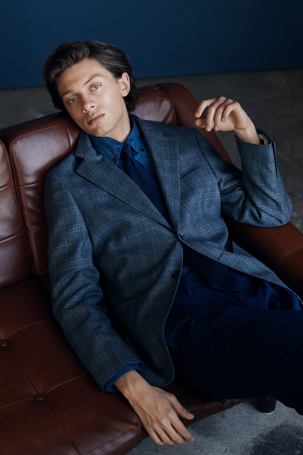 Check Blazer ,  Bluebell Pants ,  Printed Button Down   Shirt with Lennart Silk Tie .