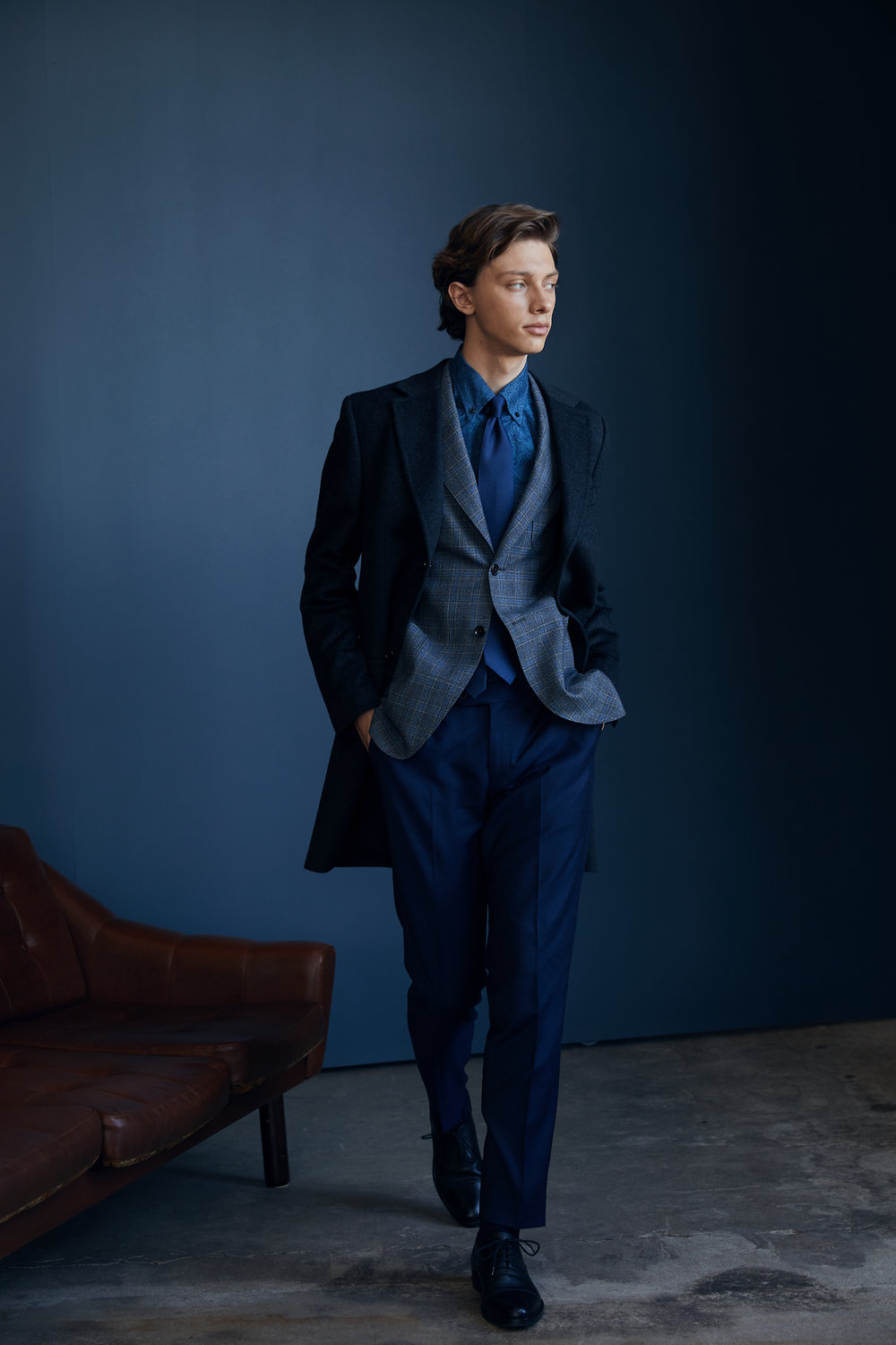 Casual Wool Coat,   Check Blazer ,  Bluebell Pants ,  Printed Button Down Shirt  with  Lennart Silk Tie  and  Cap Toe Shoes ,