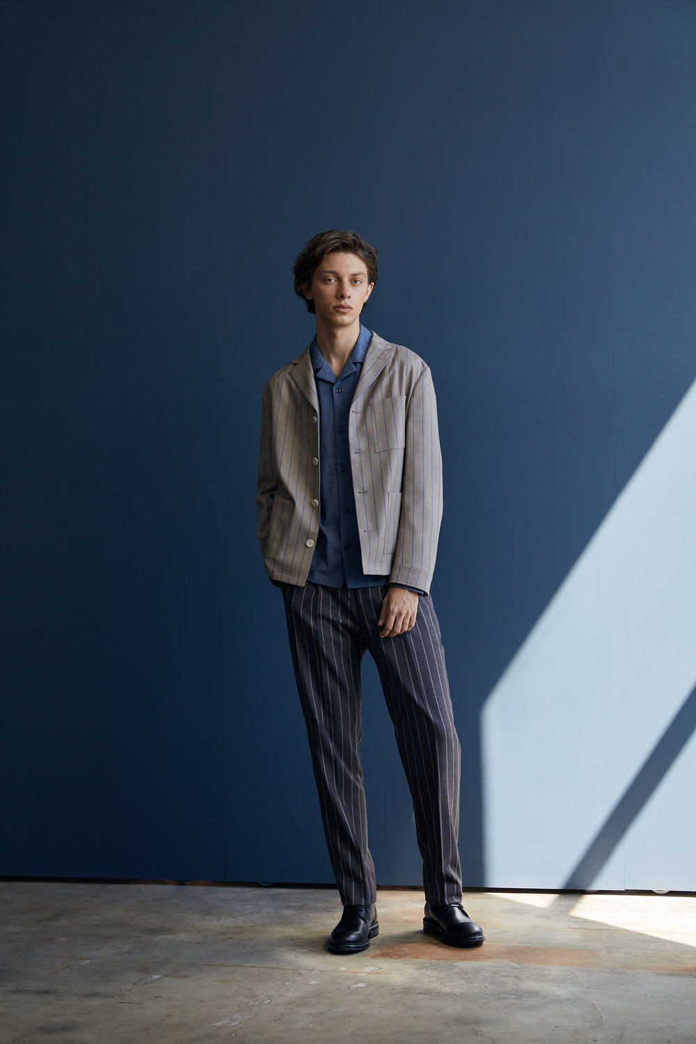 Strip Pyjamas Blazer,   Chambray Cuban Collar Shirt ,  Striped Pleat Pant  with Bootsy Collins Boots.