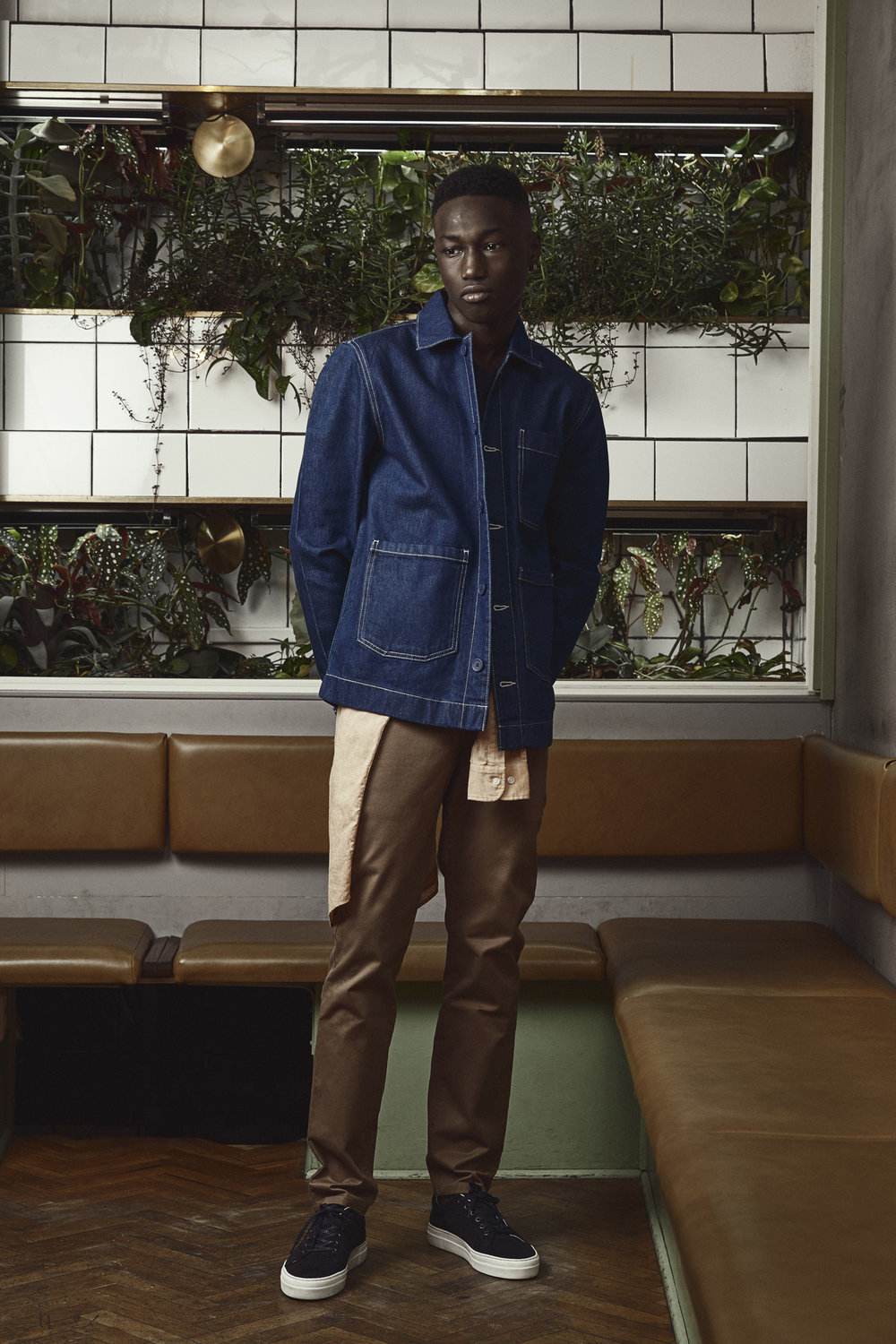 Dalian Denim Jacket , Vic Linen Shirt,  Aimon Slim Chinos  and  Chunky Mats Suede Sneakers .