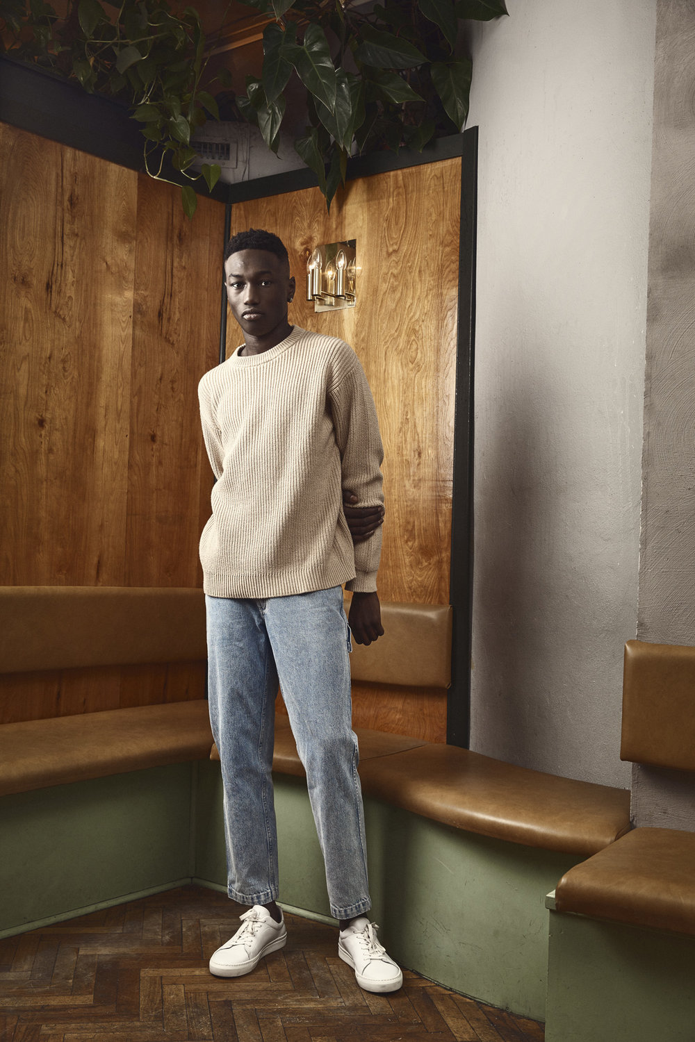 Lazar Knit  and  Rogelio Denim Pants  with  Mats Suede Sneakers.