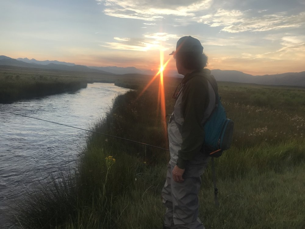 The sun sets on the end of a summer day of fly fishing on the upper Owens River.