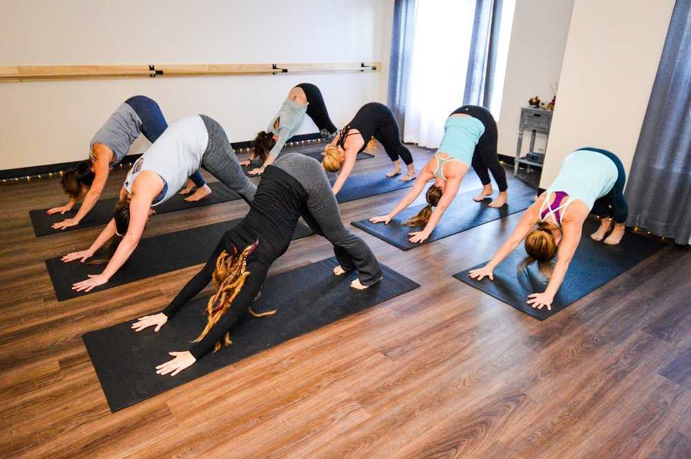 group downward dog