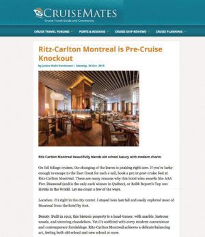 Ritz-Carlton Montreal is Pre-Cruise Knockout CRUISEMATES.COM