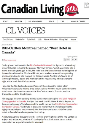 "Ritz-Carlton Montreal ""Best Hotel in Canada"" CANADIAN LIVING"
