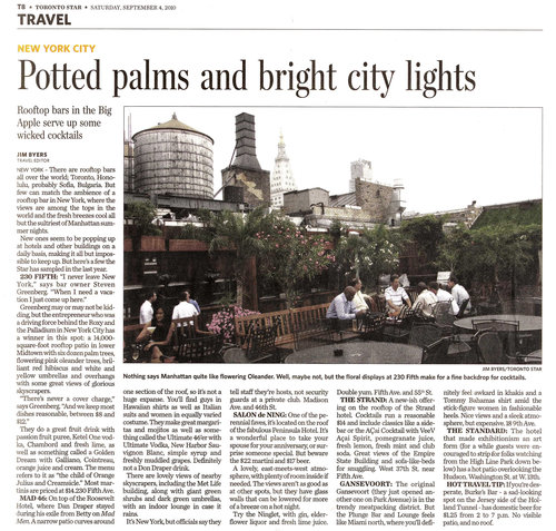 Potted palms and bright city lights TORONTO STAR