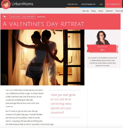A Valentine's Day Retreat URBAN MOMS
