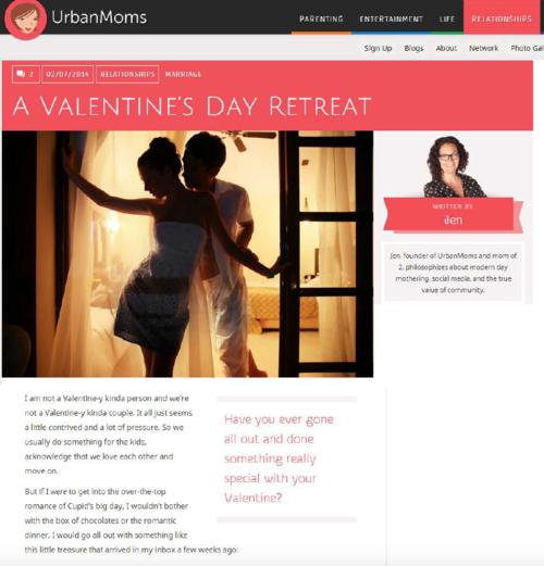 A Valentine's Day Retreat URBAN MOMS