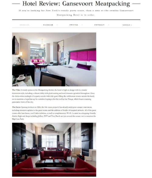 Hotel Review: Gansevoort Meatpacking TRAVEL & STYLE