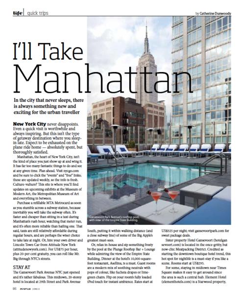 I'll Take Manhattan AVENUE MAGAZINE