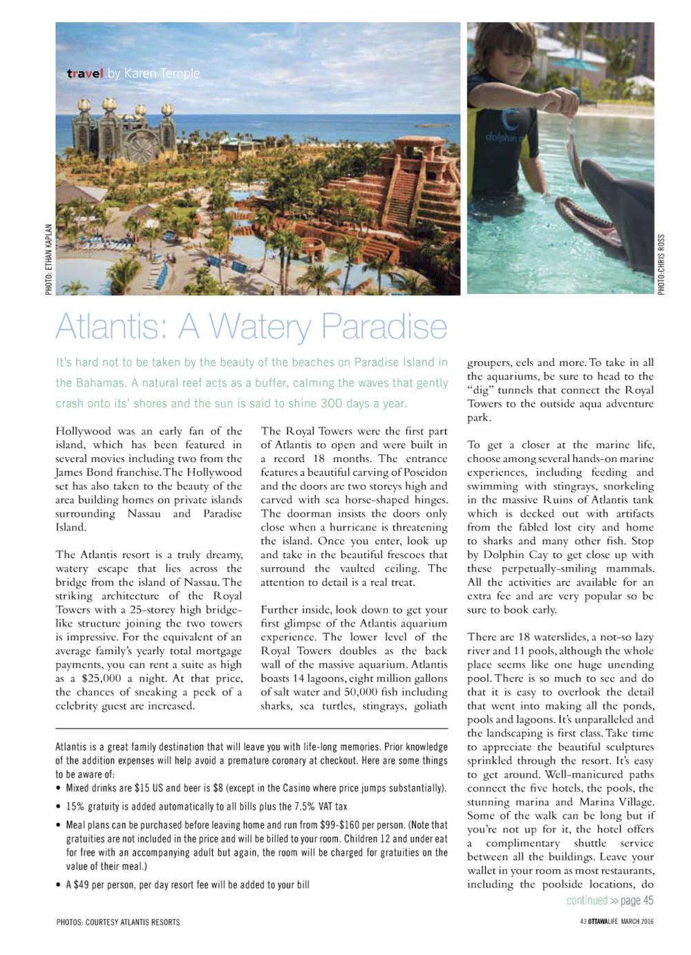 Atlantis: A Watery Paradise OTTAWA LIFE MAGAZINE