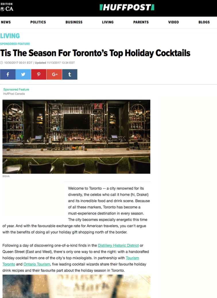 Toronto's Top Holiday Cocktails HUFFPOST