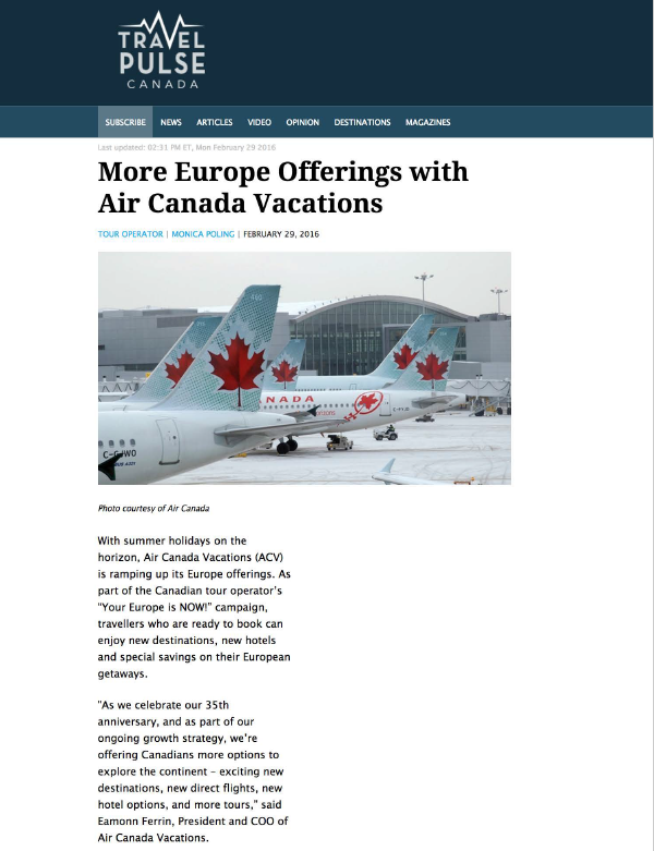 Europe Offerings with Air Canada Vacations TRAVEL PULSE