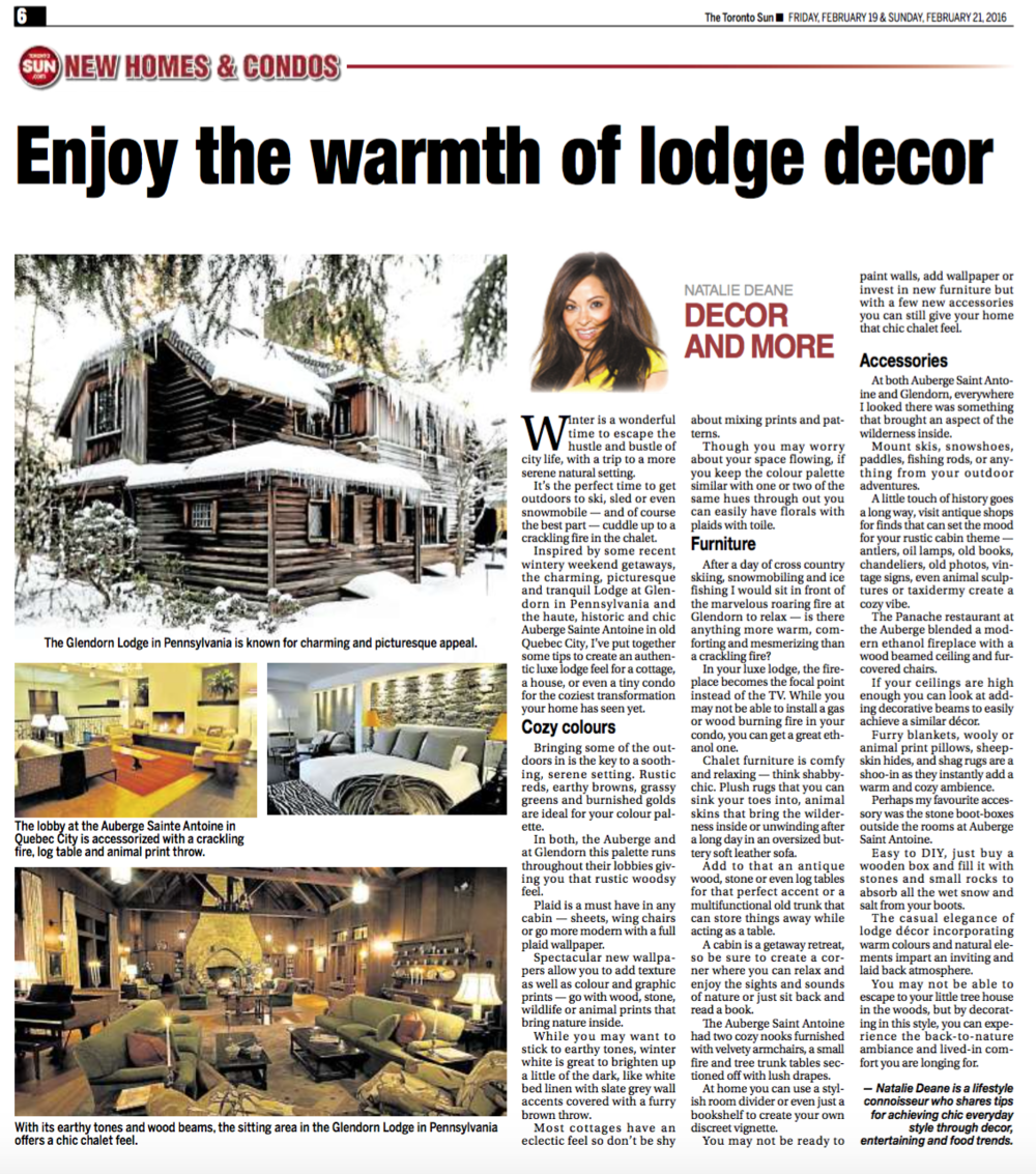 Enjoy the warmth of lodge decor TORONTO SUN