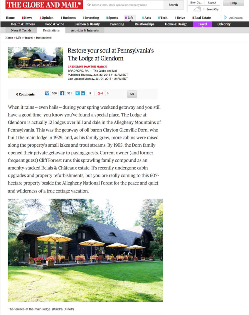 Restore your soul at Pennsylvania's The Lodge at Glendorn THE GLOBE AND MAIL