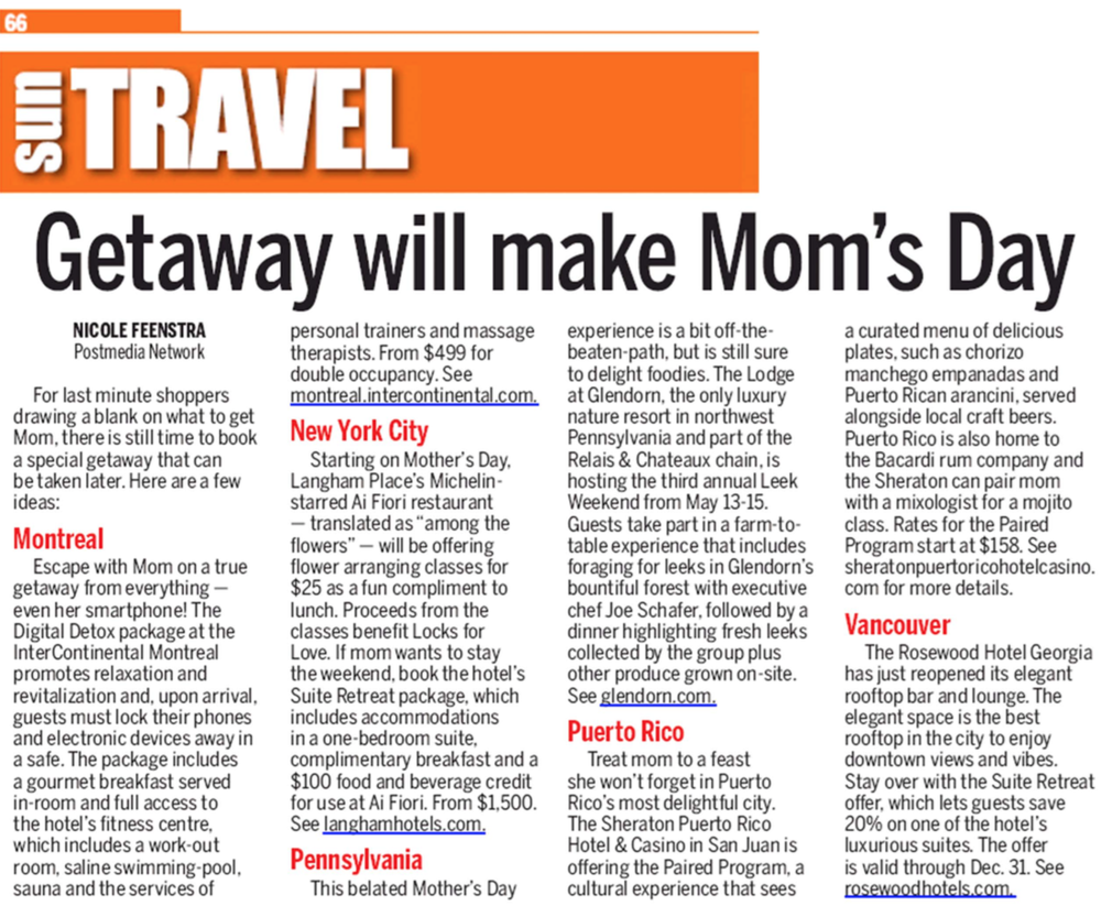 Getaway will make Mom' Day TORONTO SUN