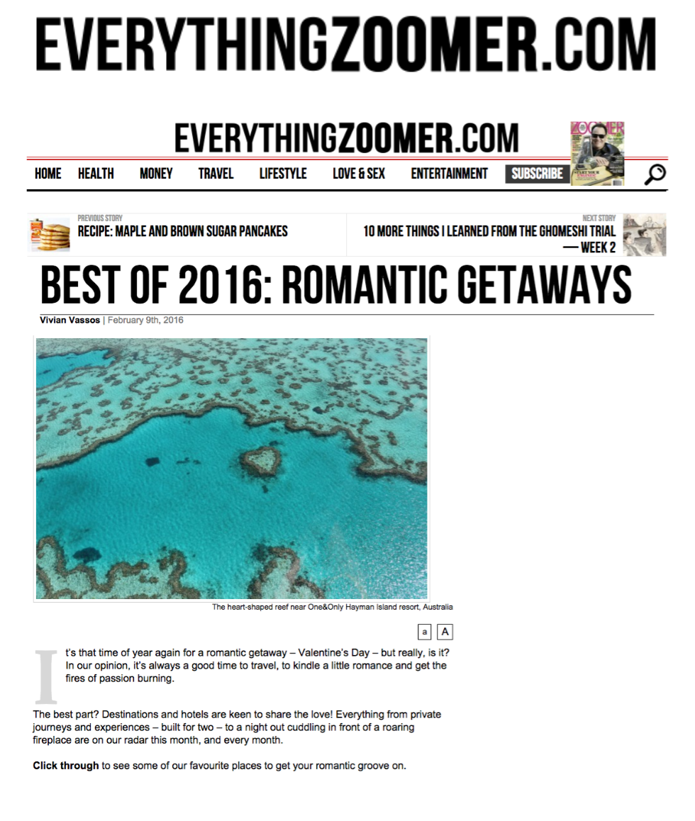 Best of 2016: Romantic Getaways EVERYTHING ZOOMER