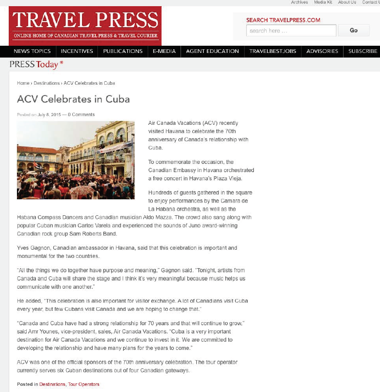 ACV Celebrates in Cuba TRAVEL PRESS