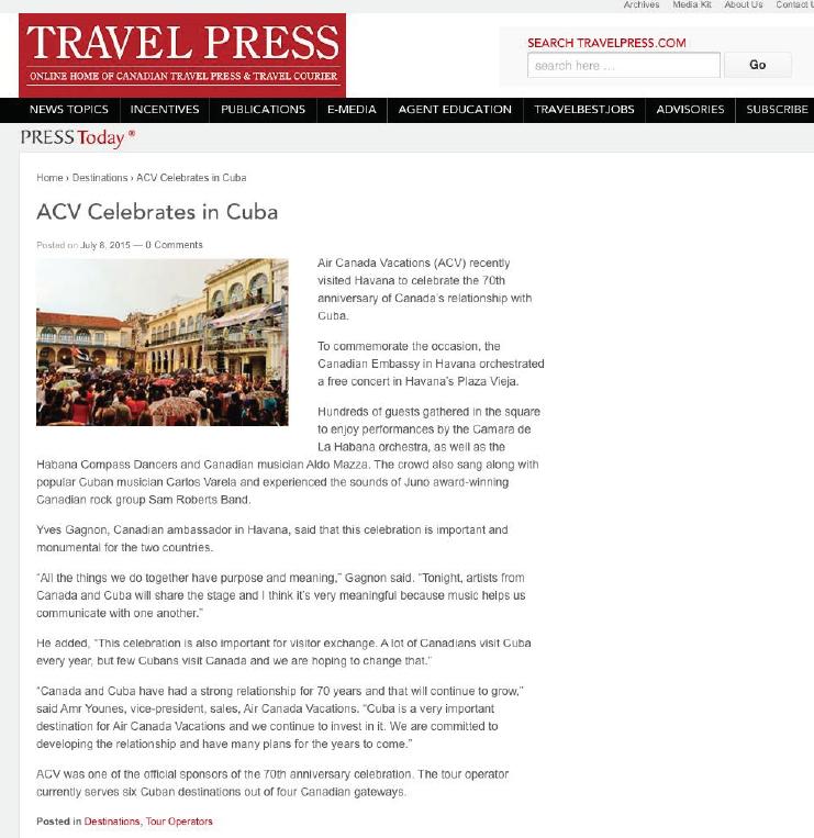 ACV Celebrates in Cuba TRAVEL PRESS