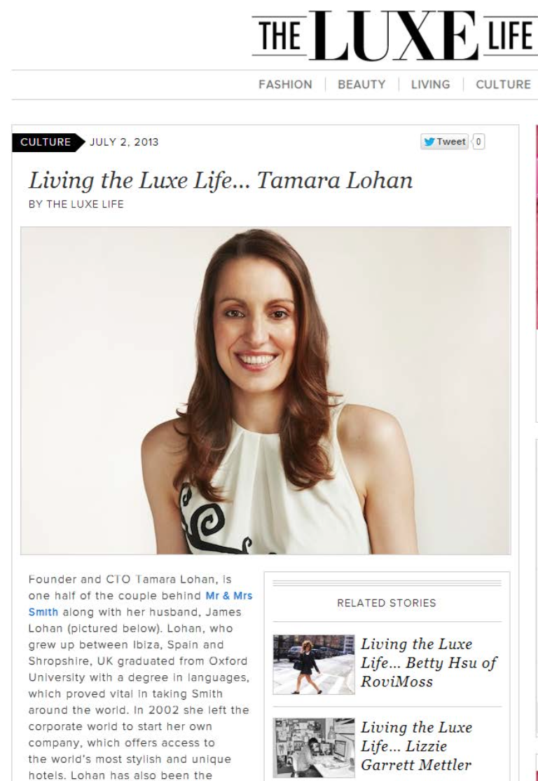 Living the Luxe Life...Tamara Lohan THE LUXE LIFE
