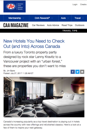 New Hotels Across Canada<br>CAA Magazine