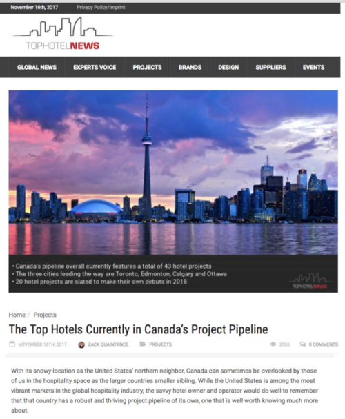 Top Hotels in Canada's Project Pipeline<br>Top Hotel News