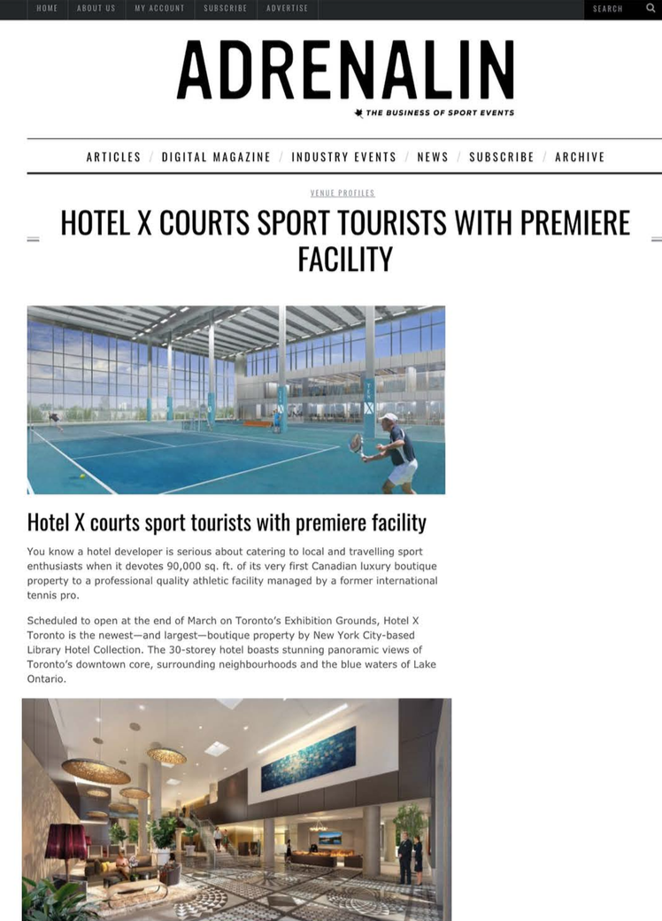 Hotel X Courts Sport Tourists with Premiere Facility<br>ADRENALIN MAGAZINE