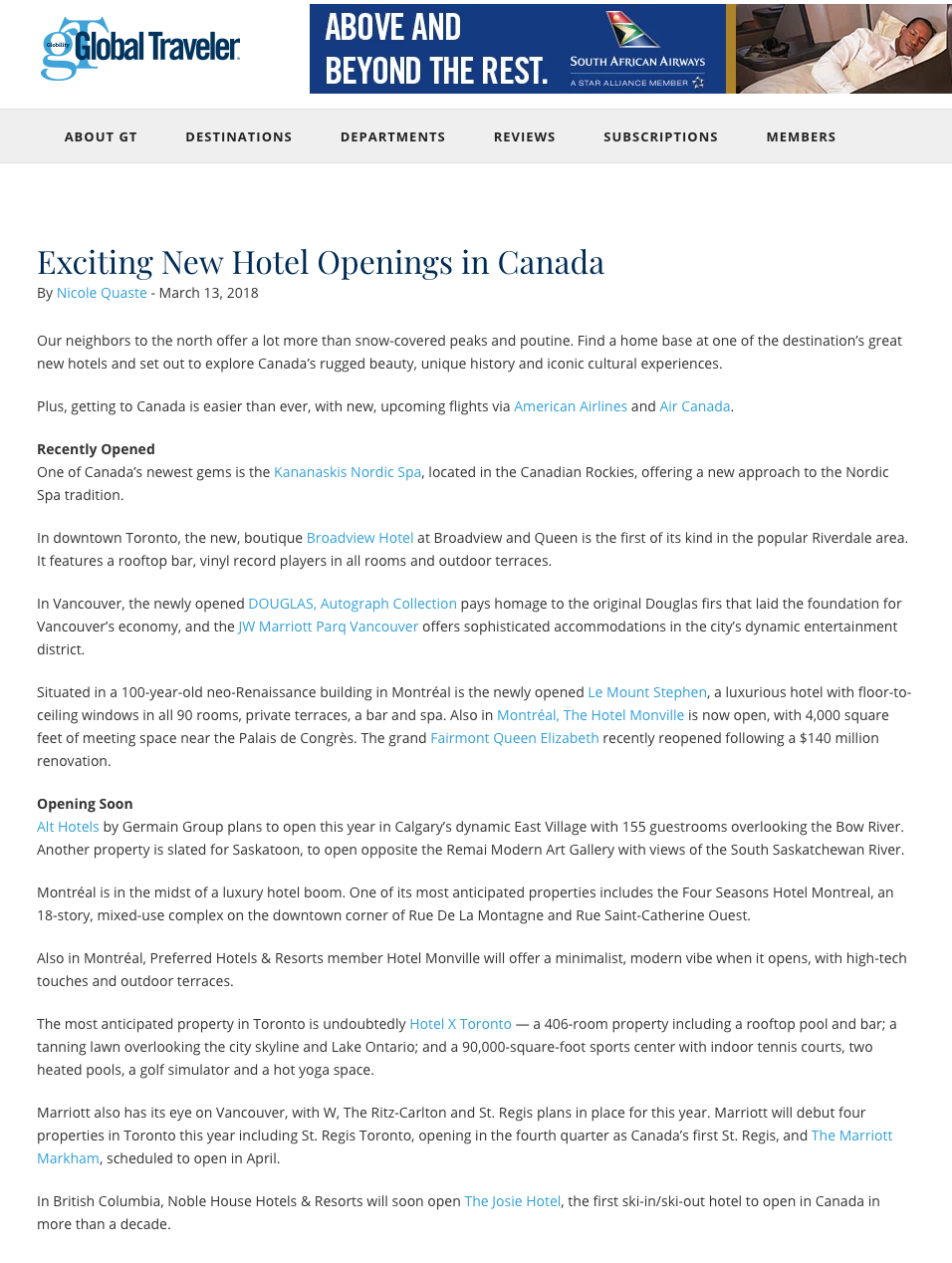 Exciting New Hotel Openings in Canada<br>GLOBAL TRAVELER