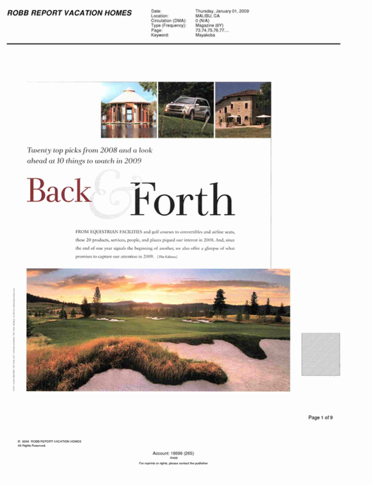 Back & Forth ROBB REPORT