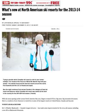 What's new at North American ski resorts<br>TORONTO SUN