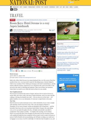 Hotel Jerome is a cozy Aspen landmark<br>NATIONAL POST