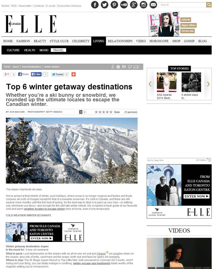 Top 6 Winter Getaway Destinations<br>ELLE CANADA