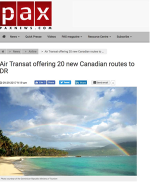 Air Transat offering 20 new Canadian routes<br>PAX NEWS
